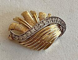 Solid 14k Yellow Gold And Diamond Designer Pin, See Other Gold Jewelry And Coins
