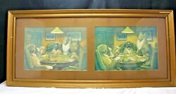 Antique Framed Advertisement Ads Drink Rex Bitters Dogs Playing Poker
