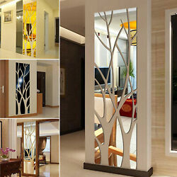 3d Mirror Tree Art Removable Wall Sticker Acrylic Mural Decal Home Room Decor Us