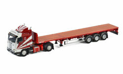 For Scania 3 Series Streamline 4x2 Flat Bed Trailer For Ron Wood 1/50 Model Car