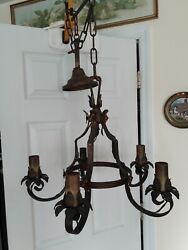 Vintage Gothic Wrought Iron 5 Arm Chandelier