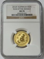 2016 Gold Australia 25 Lunar Year Of The Monkey 1/4 Oz Coin Ngc Mint State 70