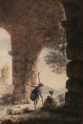 French Old Master Drawing Watercolor Neoclassical Landscape Family Antique Ruin