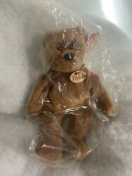 Rare Ty Beanie Baby Original Plush Bear 4050 Teddy - Wooden Name Tag And Errors