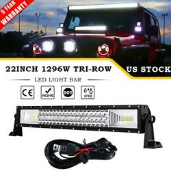 Tri-row 1296w 22 Led Work Light Bar Combo Offroad For Jeep Pickup Truck 4wd 20