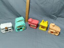 Vintage Flintstoneand039s Village - Houses 90and039s Mcdonaldand039s Happy Meal Toys Lot Of 6