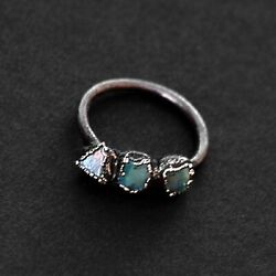 Natural Raw High Fire Opal Gemstone Antique Fashion Women Design Stackable Rings