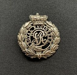 Victorian Royal Engineers Officers Silver Fretted X 100 Original Cap Badge
