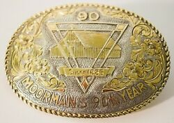 Crumrine Vintage Moorman's Feed 90th Yr 22k Gold On Sterling Silver Belt Buckle