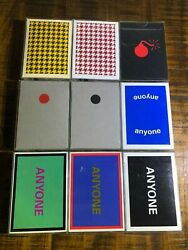 Rare Lot Anyone Worldwide Playing Cards Houndstooth Bomb Red Black Dot Cap Logo
