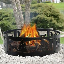 🔥 Fire Pit Ring Portable Steel Mesh Wilderness Backyard Camping Cookout Outdoor