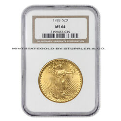 1928 20 Gold Saint Gaudens Ngc Ms64 Choice Certified Philadelphia Double Eagle