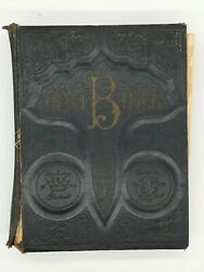 Antique 1900and039s Large Holy Bible Pictorial Leather-universal Bible House Pa