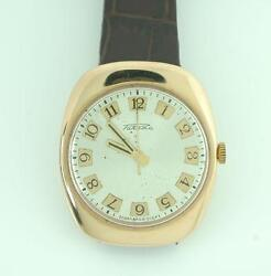 Vintage Russian Menand039s 14k Rose Gold Silver Dial Self Winding Mechanical Watch