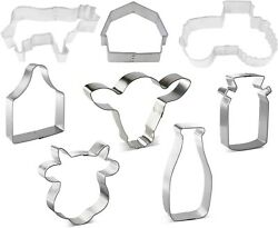 3 Piece Farm Barn Tractor Cow Cookie Cutter Set New