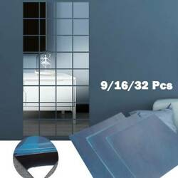 9 16x Square Mirror Tile Home Decor Mosaic Decal 3D Stickers Wall Room Kitchen