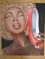 Elegant Young Lady High Heels Shoe Oil Painting Black Americana Modernist Signed