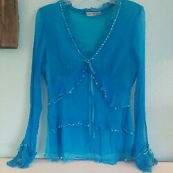 Womens Boho Gypsy Beaded Top size M Turquoise Silk Mesh Crinkled Tiered Tunic