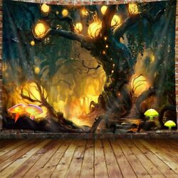 Tree of Life Large Tapestry Trippy Forest Mushroom Fairy Decor Tapestry