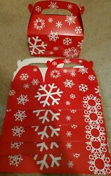 Lot Of 6 Or 12 Red White Snowflake Holiday Winter Treat Cookie Candy Gift Boxes