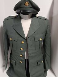 Us Army Men's Class A Green Dress Uniform Coat Size 37s With Hat
