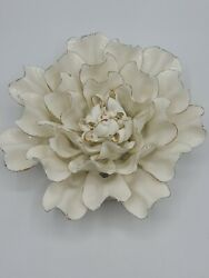 Vivaterra Ceramic Wall Flowers 8quot; Diameter White and Gold