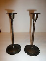 Pair Antique Roycroft Hammered Copper Candlesticks Arts And Crafts 8