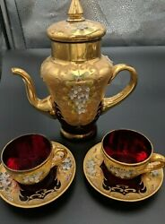 1960s Venetian Murano Glass 24k Gold Leaf Tea Pot/lid 2 Cup And Saucers