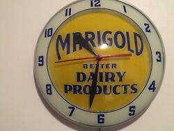 """Vintage Marigold Dairy Products Double Bubble Wall Clock Lighted Works 15"""""""