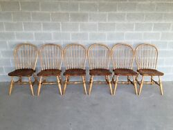 Ethan Allen Farmhouse Pine Hoop Back Side Chairs 19-6300 657 - Set Of 6
