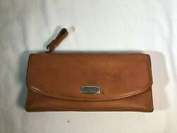 FOSSIL Womens Brown Leather Snap Checkbook Wallet Clutch Vintage $20.00