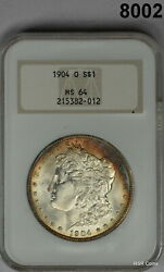 1904 O Morgan Silver Dollar Ngc Certified Ms64 Amber- Blue Rainbow Colors 8002