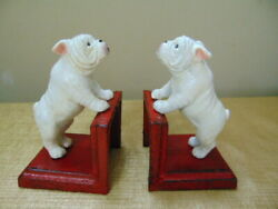 Over the Fence Bulldog Cast Iron Bookend White red dog terrier boxer