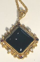 Vintage 1950's Glass And Pearl Pendant Necklace Special Bale Design 626