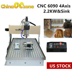2.2kw Cnc 6090 4-axis Router Milling Engraving Machine Cutting Engraver Andsink Us