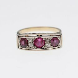 Antique Art Deco Ring 3 Rubies And Diamonds 18 K White And 14k Yelow Gold Circa 1920