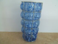 Sale Hand Blown Blue Speckled Bubble Glass Vase Encased With Wire Holder 10