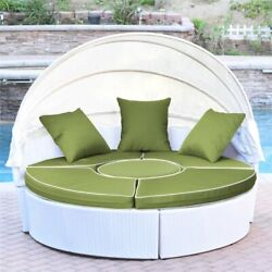 Jeco 4 Piece Patio Wicker Canopy Daybed In White And Sage Green