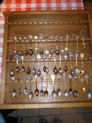 Vintage Souvenir Spoons Lot Of 42 With Display Case
