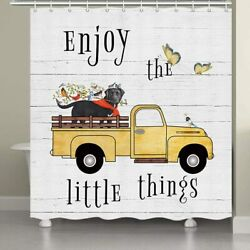 Farm Birds Standing On Farmhouse Dogs Head In Country Truck Shower Curtains