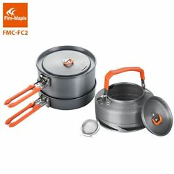Camping Utensils Dishes Cookware Set Picnic Hiking Heat Exchanger Pot Kettle Out