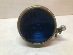 Rare Vintage 1920/30and039s Blue Police Automobile/motorcycle Heavy Brass Light