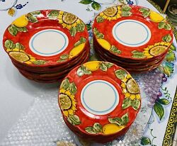 Vietri Sul Mare-set Of 18 Plates.made/painted By Hand In Italy