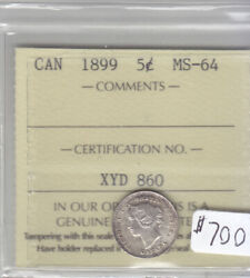 1899 Canadian 5 Cent Coin Iccs Cert Ms-64