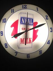 """Vintage Rare Neal Grade A Milk Dairy Double Bubble Wall Clock Lighted Works 15"""""""