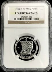 1994 Platinum Isle Of Man 1/2 Ounce Noble Coin Ngc Proof 69 Ultra Cameo