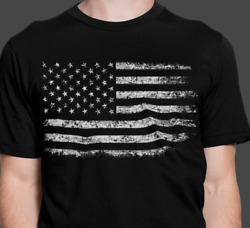 Distressed American Flag Patriotic T Shirt Made In The USA Free Shipping