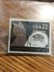 US Postage Stamp Pin 22 Cent Abyssinian Cat Himalayan Cat