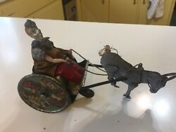 Antique Lehmann Clown And Donkey Cart Tin Wind-up Toy