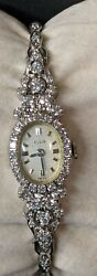 14k 1.50 Ctw Diamond Ladies Elgin Watch Runs And Keeps Perfect Time Wind Up